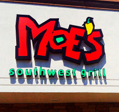 Moes Southwest Grill logo. Get a free birthday meal at Moes.