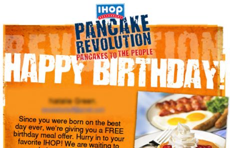 IHOP birthday coupon for a free stack of Rooty Tooty Fresh 'N Fruity Pancakes
