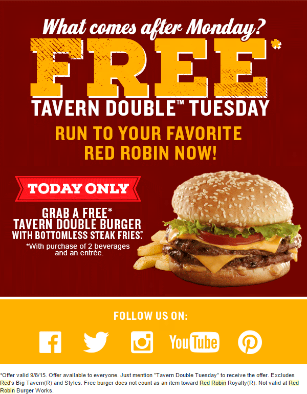 Past Red Robin Coupon Codes